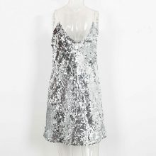 Silver Sparkly Sequin Party Dress