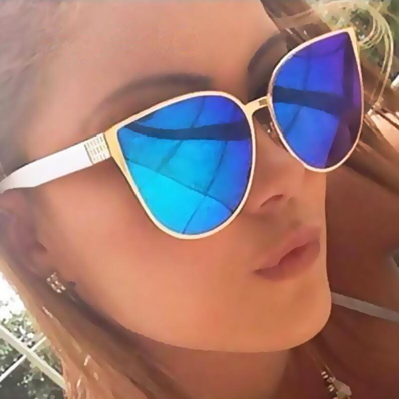 Oversized Mirror Cat Eye Sunglasses - Fashion Trendy Shop