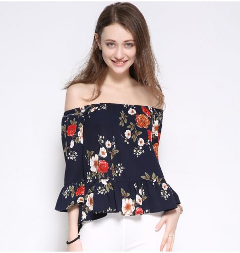 Women's Summer Off-shoulder Blouses with Floral Design - Fashion Trendy Shop
