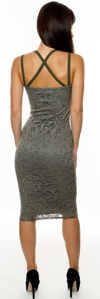 khaki lace overlay bodycon dress - Fashion Trendy Shop