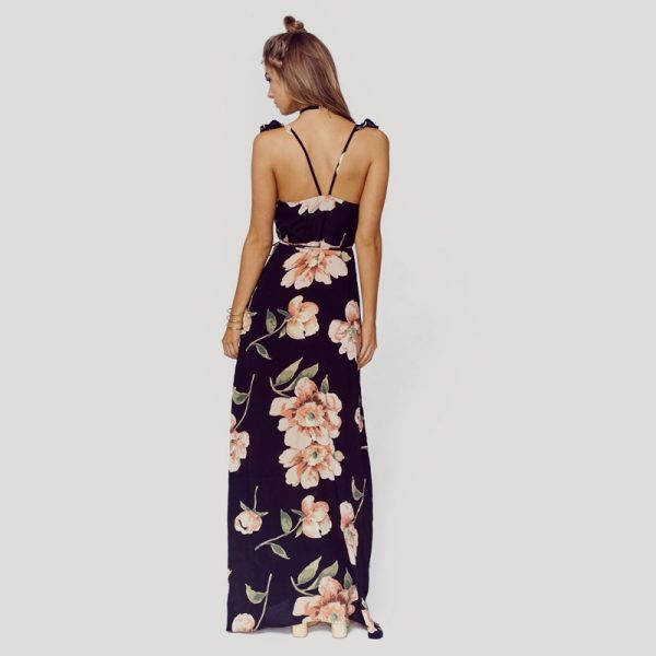 Floral Print Backless Split Maxi Dress - Fashion Trendy Shop