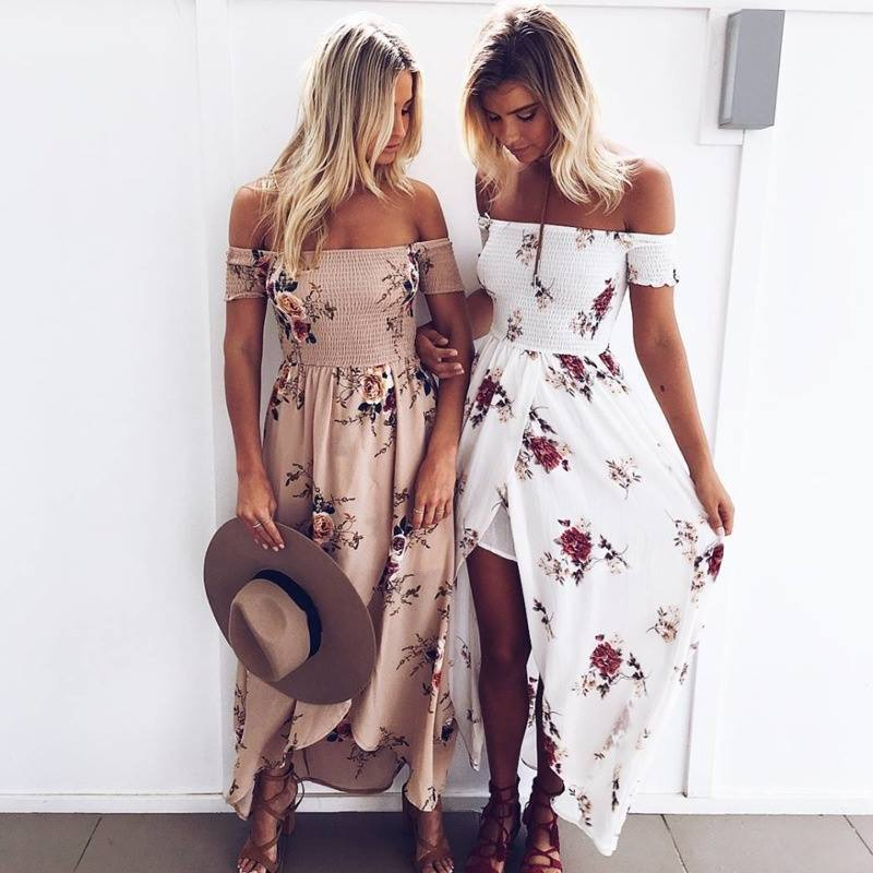 Boho Floral Print Maxi Dress with Side Split - Fashion Trendy Shop