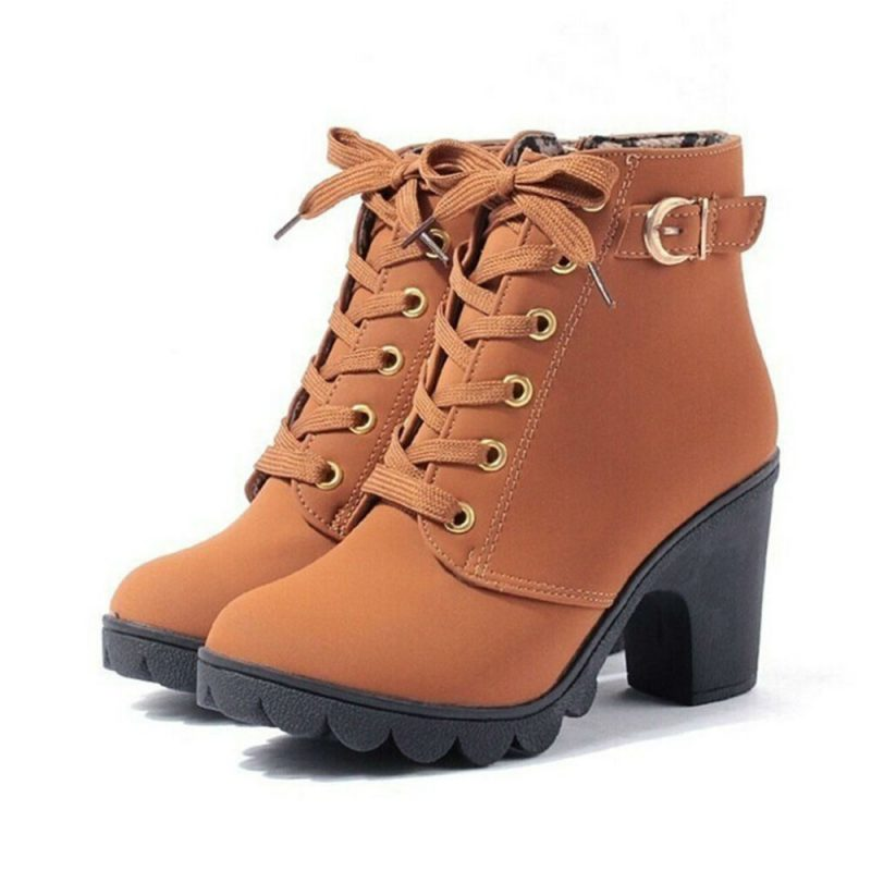 High Quality Lace-up Leather Boots - Fashion Trendy Shop