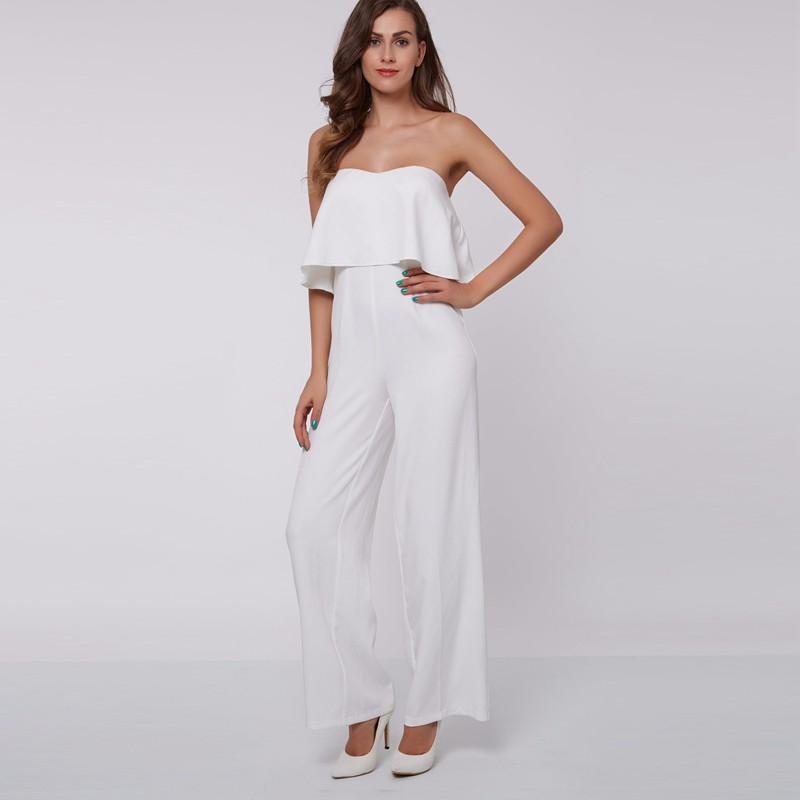 White Strapless Jumpsuit - Fashion Trendy Shop