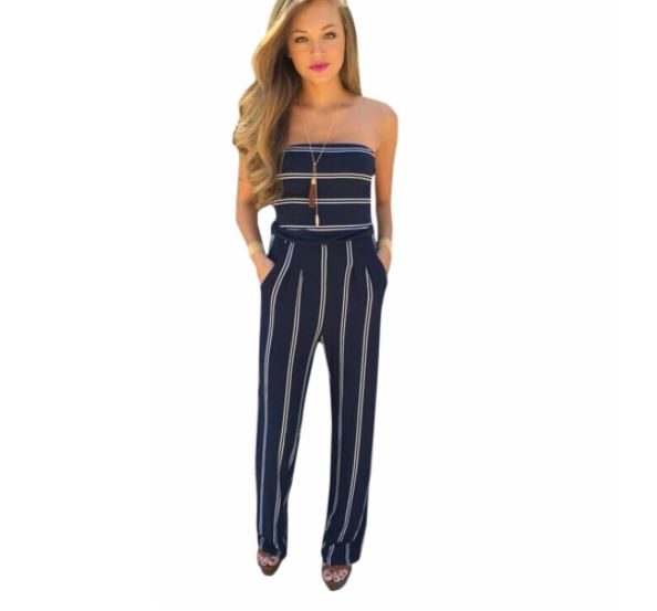 striped strapless romper - Fashion Trendy Shop