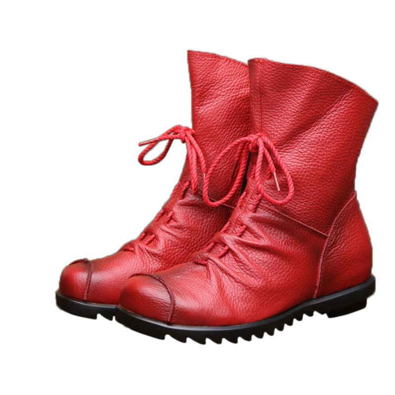 Vintage Style Genuine Leather Boots - Fashion Trendy Shop