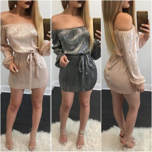 Sexy Off Shoulder Shimmer Party Dress - Fashion Trendy Shop