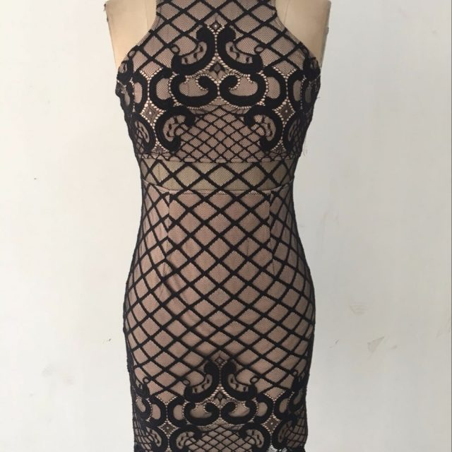 Black Mini Bandage Lace Party Dress