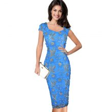 Elegant 3D Flower Embroidery Bodycon Dress