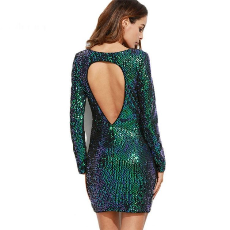 Iridescent Green Open Back Sequin Bodycon Dress - Fashion Trendy Shop
