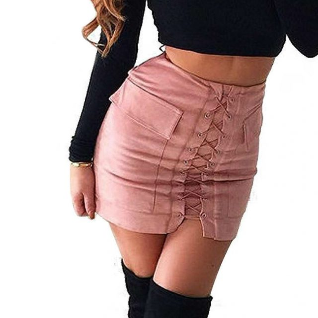 Lace-up Mini Pencil Skirt