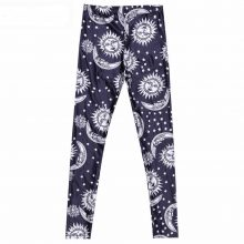 Black and white sun moon printed leggings