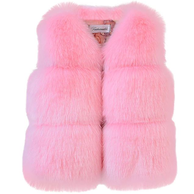 Girls Winter Artificial Faux Fur coats