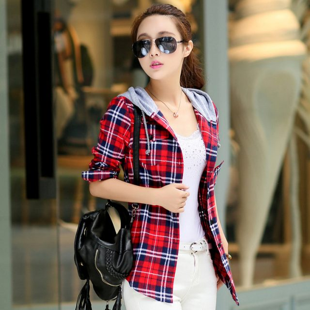 Women's Hooded Checkered Jacket