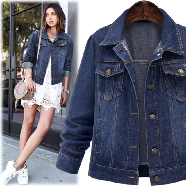 Casual Blue Denim Jacket for Women