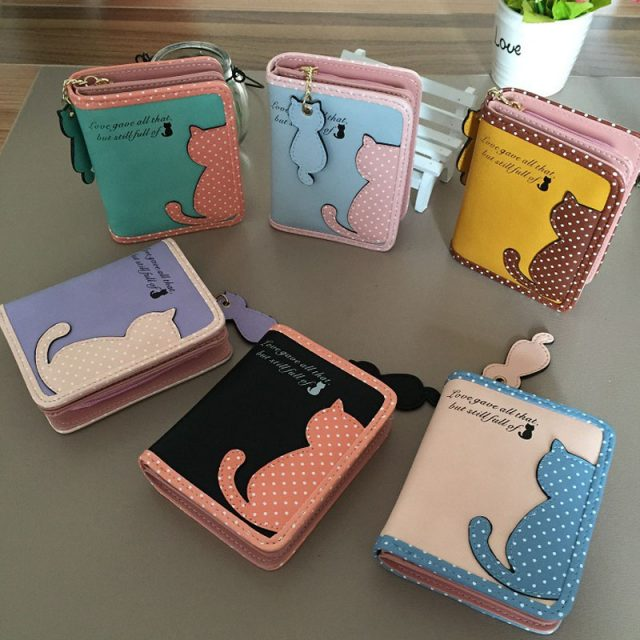 Cat Print Small Leather Wallet Purse