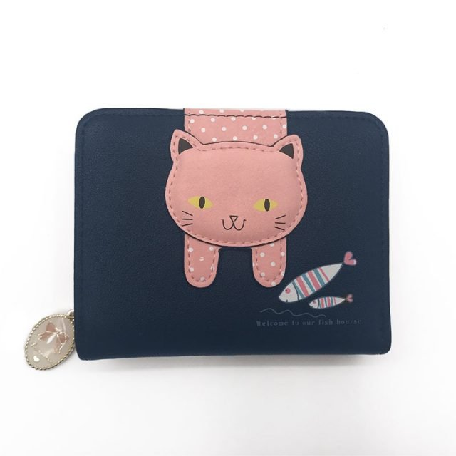 Cat Print Small Zip Around Wallet