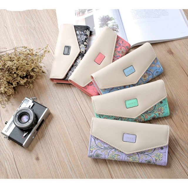 Floral Print Long Green Leather Wallet