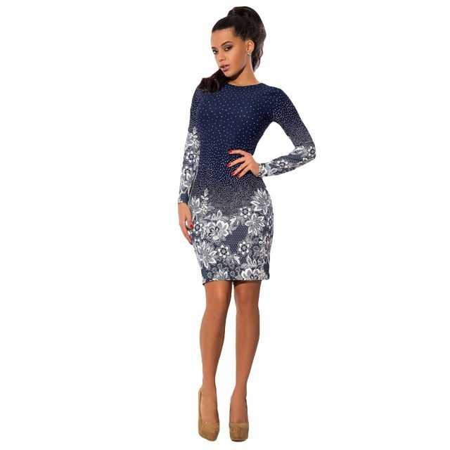 Long Sleeve Bodycon Navy Party Dress