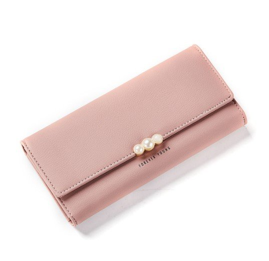 Pearl Buckle Leather Wallet Purse