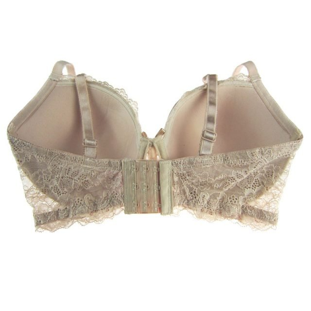 Plus Size Push-Up Beige Lace Bra