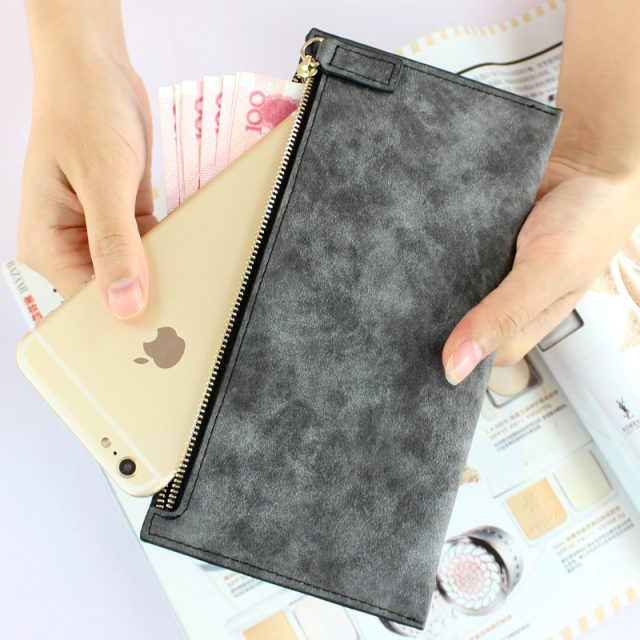Slim Marble Leather Long Travel Wallet