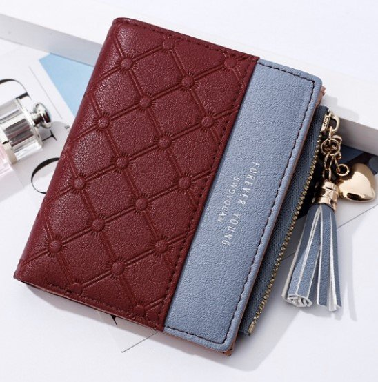 Two Tone Leather Small Zipper Wallet