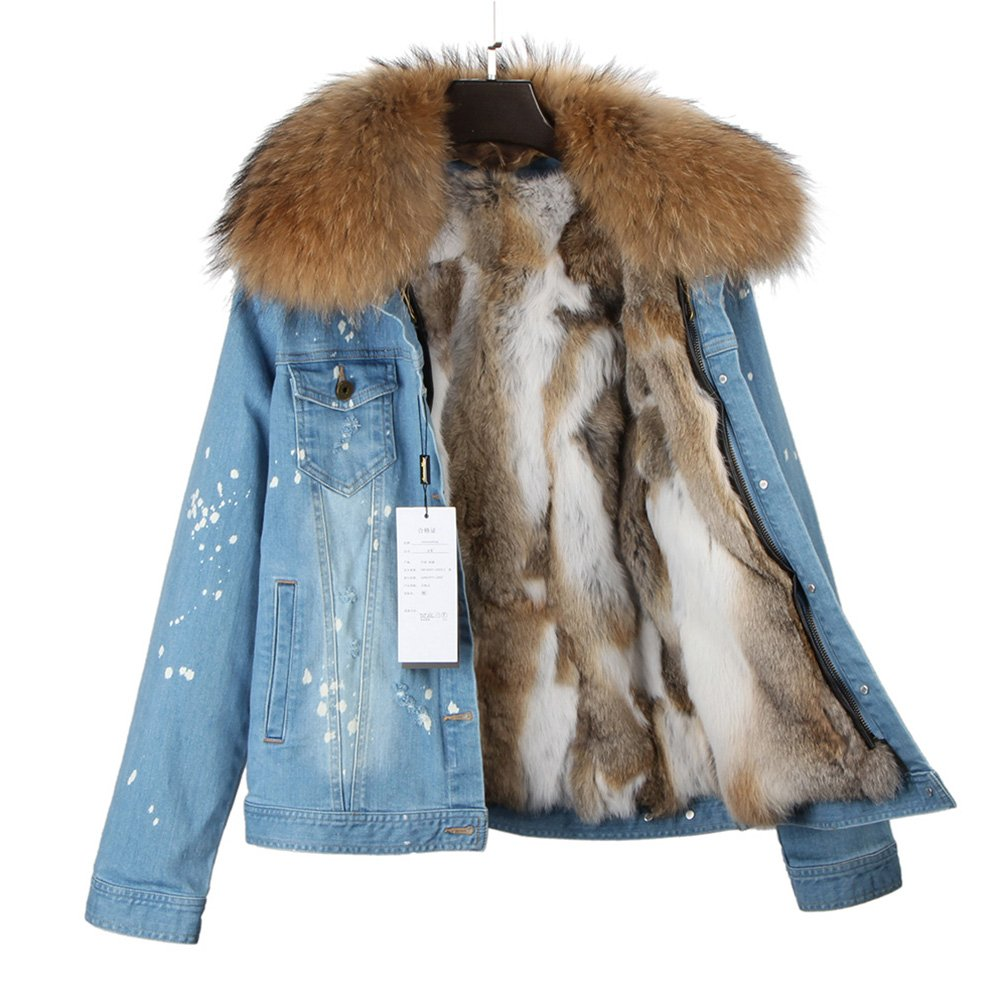 Women's Raccoon Fur Denim Jacket