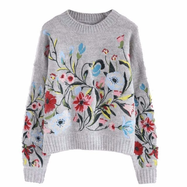 Women`s Knit Floral Print Sweater