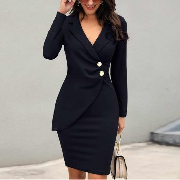 Long sleeve deep v-neck black office dress