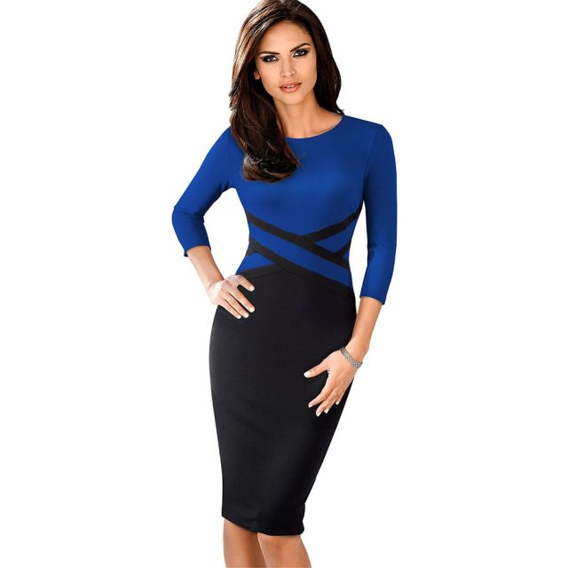 Knee length o-neck bodycon blue office dress