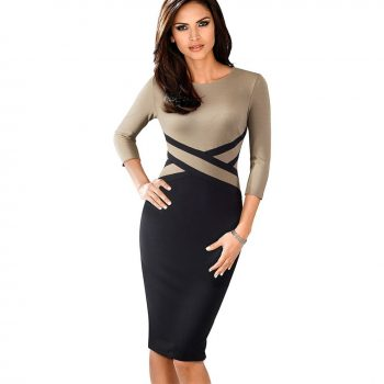 Knee length o-neck brown bodycon office dress