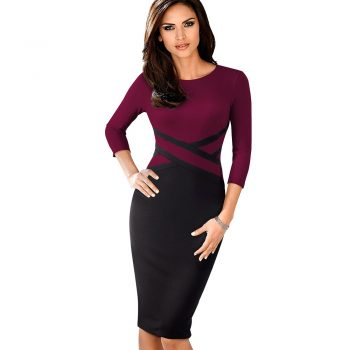 Three quarter sleeve Knee length mulberry purple bodycon smart office wear