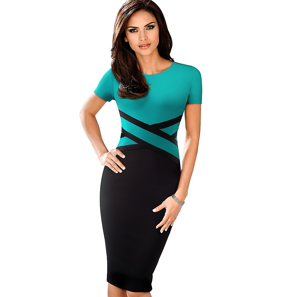Bodycon o-neck turquoise knee length office dresses