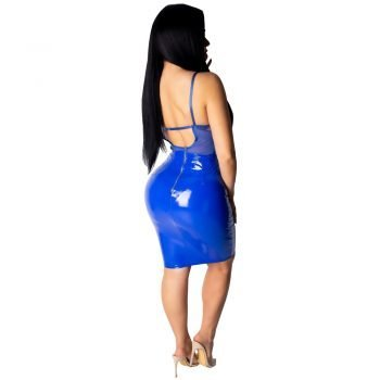 Lace top blue knee length leather dress