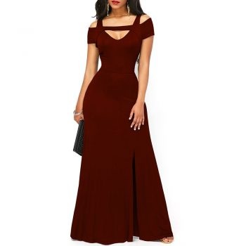 Long plus size burgundy formal gown with slit