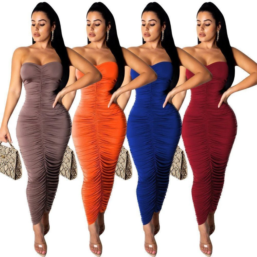 Long bodycon strapless ruched dress