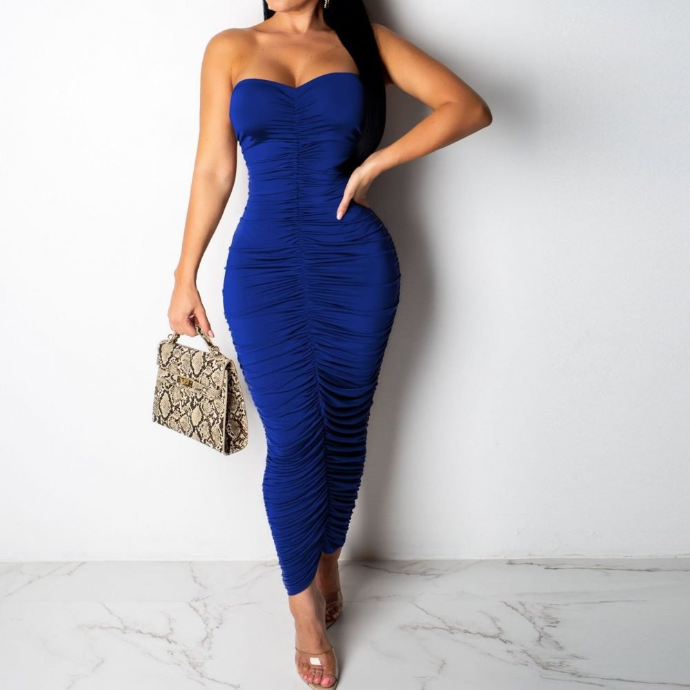 Long blue ruched bodycon dress