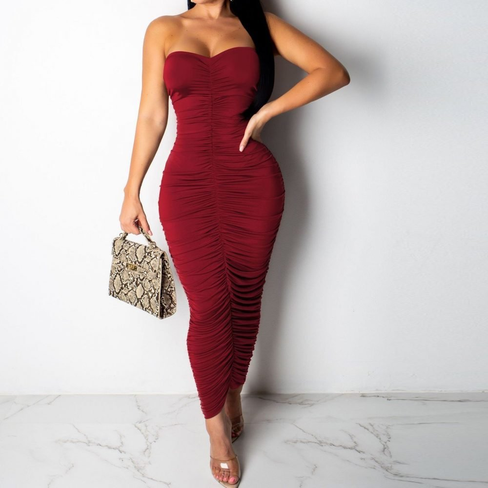 Long bodycon burgundy ruched dress