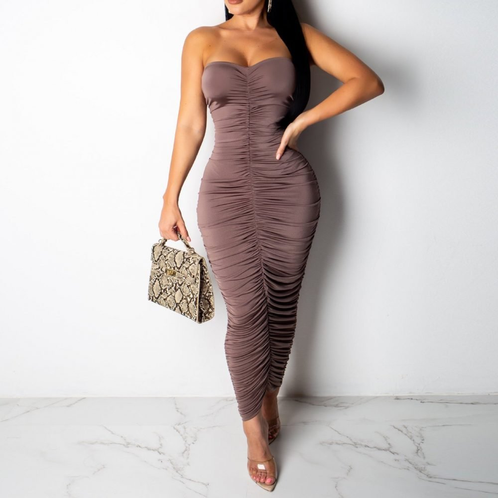Long pink ruched bodycon dress