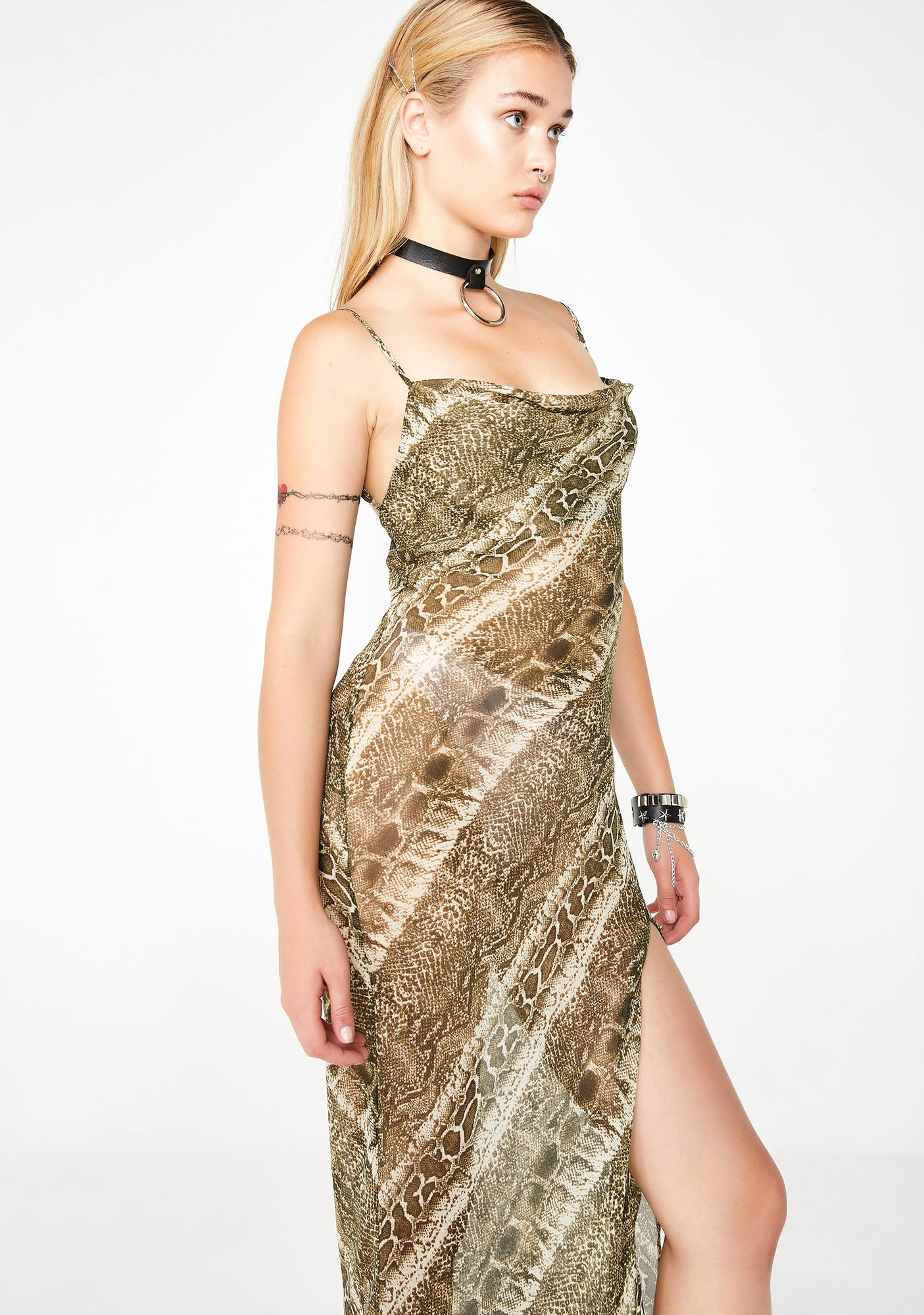 See through mesh snakeskin spaghetti strap evening dress