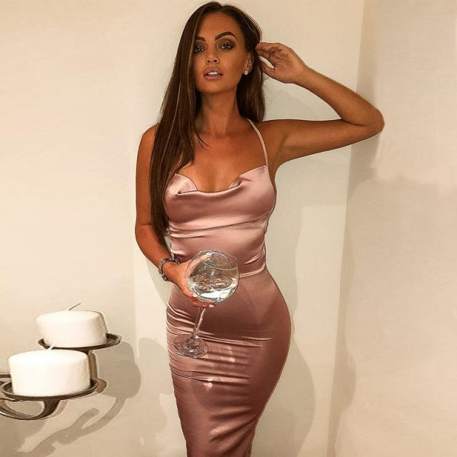 Strappy backless bodycon pink satin dress