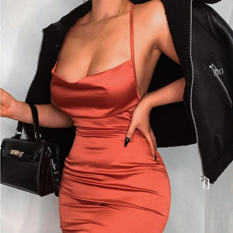 Strappy backless bodycon coral satin dress