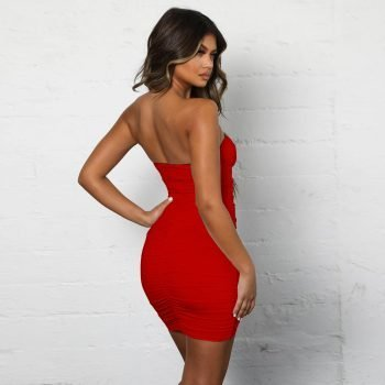 Ruched strapless mini red bandage dress