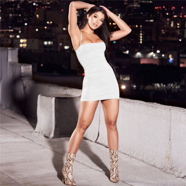 Bodycon fit ruched mini white cami dress