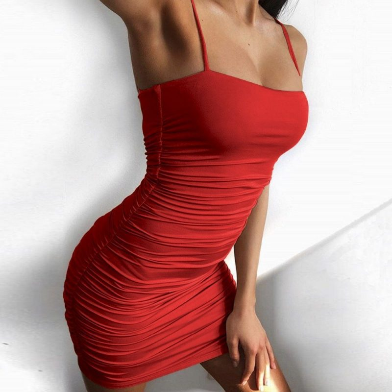 Bodycon fit ruched mini red cami slip dress