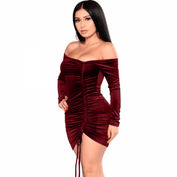 Ruched burgundy velvet dress short