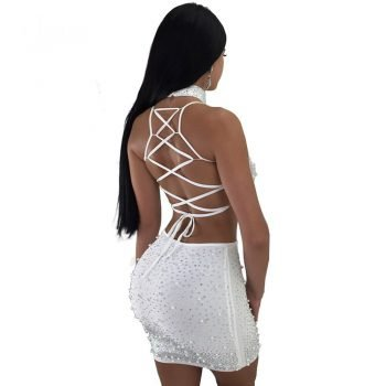 See-through white mesh two piece outfit