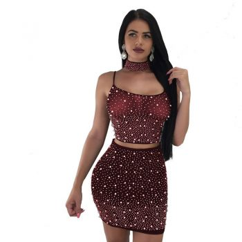 See-through burgundy two piece party dresses set