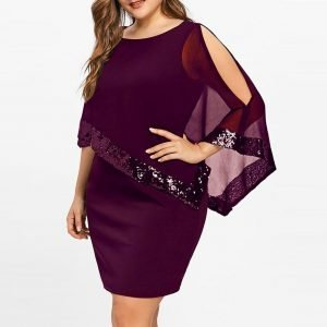 sequin-cape-overlay-mini-dress